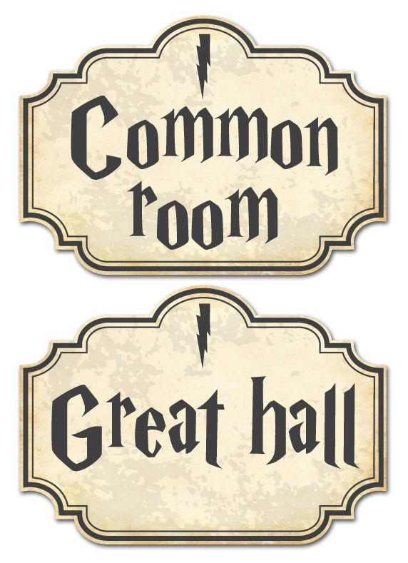 Cool Harry Potter door signs to put on the doors of different rooms. Living room = common room, dining room = great hall, garden = forbidden forest. Download them here: http://oktoberdots.nl/harry-potter-printables/roomsigns.pdf