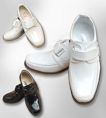 Boys Formal Communion Shoes, Wedding Page Boy Smart Shoes in White Black Cream