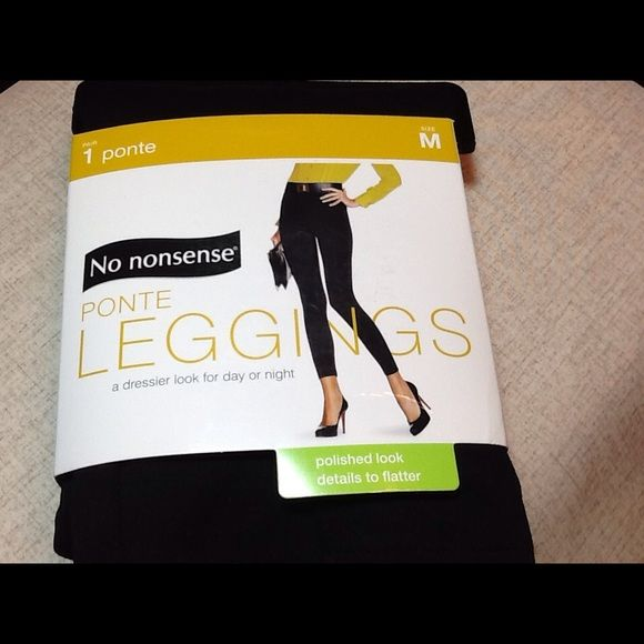 No Nonsense Polished Look Black Ponte Leggings for that Dressier Look Day or Night.  Pintuck Detail, Flattering Fit, Retains Shape and Color.  74% Polyester/22% Rayon/4% Spandex. 1 Pair - NEW in Original Packaging.