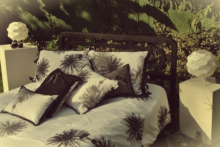 """Hagakure Hogar   Set Duvet Cover  Estampado a Mano    Diseño """"Pompones al Viento"""""""
