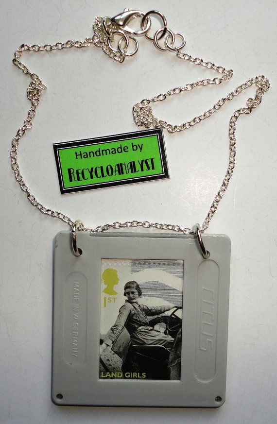 Recycled Vintage Film Slide And Postage Stamp by Recycloanalyst, $6.50