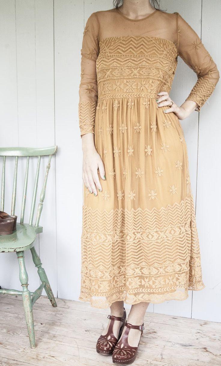 Senapsgul klänning med spets från Zara, Boho på Tradera.com - Klänningar