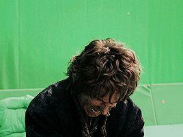 Goofy Martin Freeman + Kung fu, on The Hobbit set