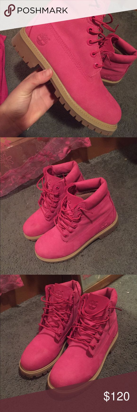 Pink Timberlands Worn once , not too big on pink they were a gift , size 6 Timberland Shoes Combat & Moto Boots