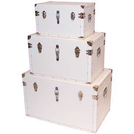 Set of three crocodile leather trunks with silver-hued detail. Product: Small, medium and large trunk Construction Material: Leather and wood Color: White Features: Crocodile texturing Dimensions: 19 H x 30 W x 19 D (large)