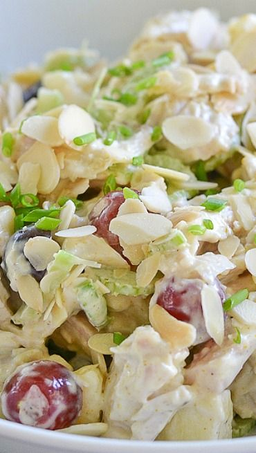 Curried Chicken Salad with Apples and Grapes Recipe ~ light and refreshing sub Greek yogurt for mayo