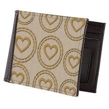 Cute Gold Hearts Linen Pattern Mens Wallet