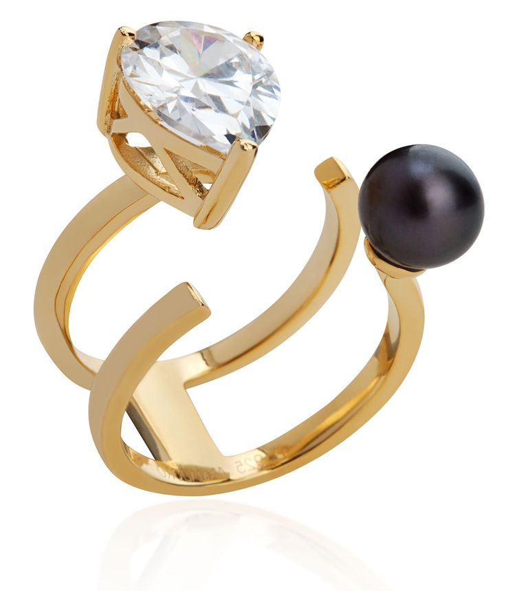 Arya Collection 2 rows gold vermeil ring with black pearl