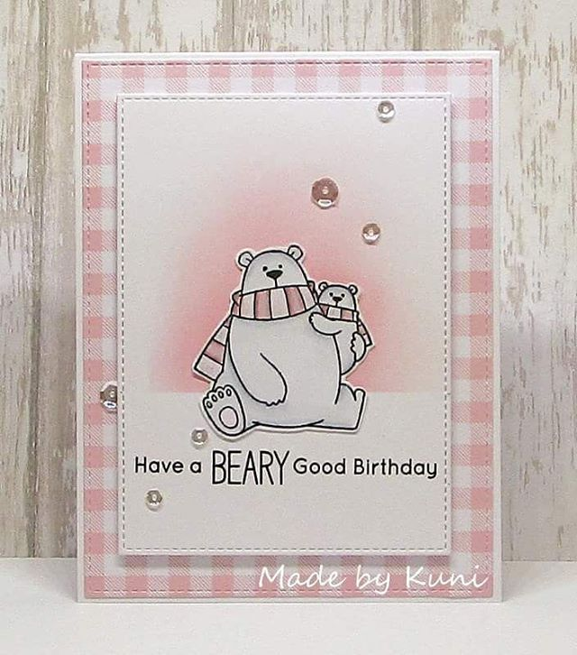 Card critters bear MFT Polar bear pals Die-namics Gingham backgrpund cover up stamp pink white - My new birthday card with #mftstamps karte