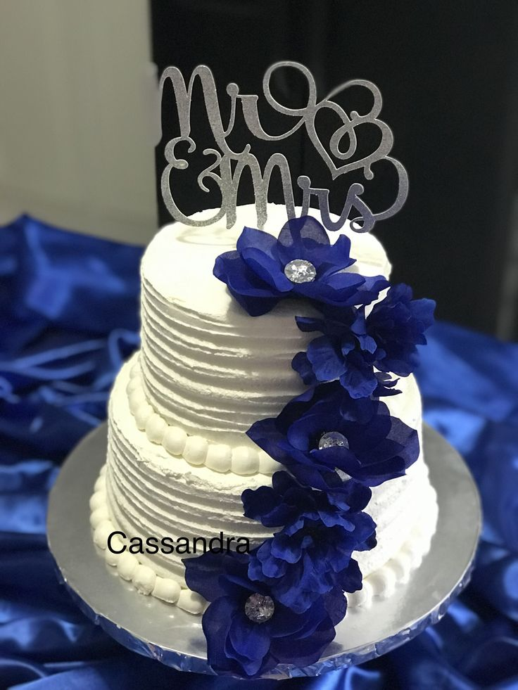 Small two tier wedding cake Royal Blue theme