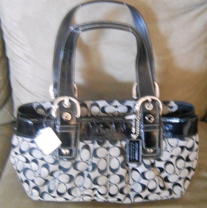 2e98f3b850 AUTHENTIC NWT Coach Soho Pleated Signature Tote Hand Bag F13742 Black White