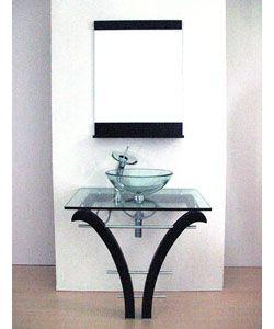Delightful Glass Bathroom Vanities   Pedestal Glass Bathroom Vanity And Faucet  Overstock™ Shopping Photomoskoo.com