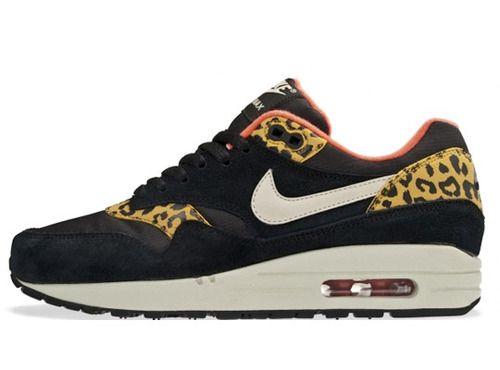 nike air max 1 chaussures femme noir or leopard,achat