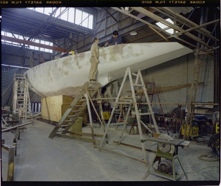 322549PD: Even in the early stages of building Australia II at Steve Ward's boatsheds in Cottesloe, the winged keel was concealed in a plywood box, 6 May 1982 https://encore.slwa.wa.gov.au/iii/encore/record/C__Rb3159243