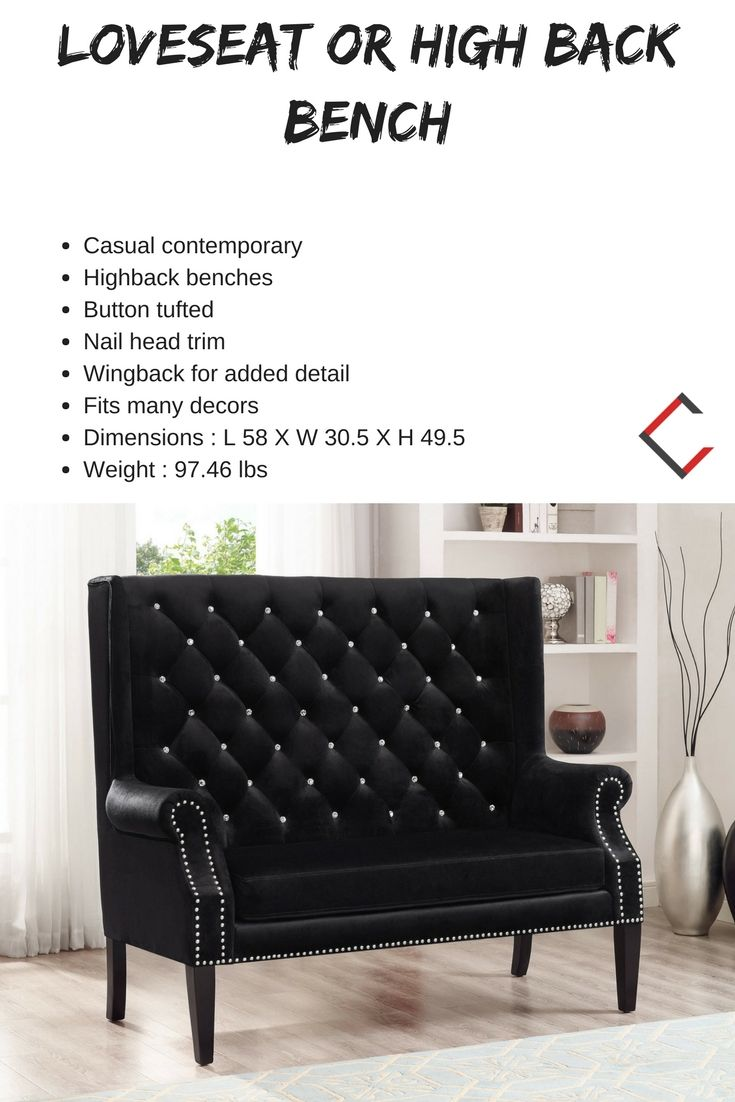 Crown Mark Odina Black Loveseat Or High Back Bench