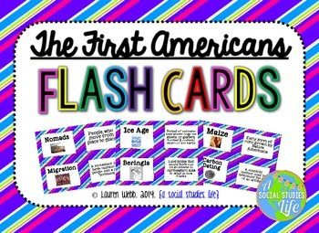 Native Americans Flash Cards Full Set of 38 vocabulary words/terms/important people flash cards with images and definitions  **This flash card set is a great activity to use for review. I print out a few sets, laminate back to back and have the students use them for review before a test/exam.  © Lauren Webb 2014 {a social studies life}