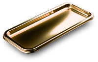 35x16cm gold metallised plastic rectangular platters from Mozaik by Sabert, perfect for formal parties or dinners. Designed to be disposable but can be reused with careful washing. Looks like metal.