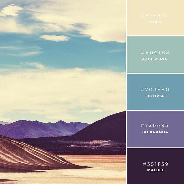05. Bolivian Beauty 彩度を落とした色のコンビネーションが特長で、メインとなる3色は、カラーホイールで隣り合っている色が利用されています。コントラストをうまく表現した色使いで、文字テキストやシェイプへの利用に最適。