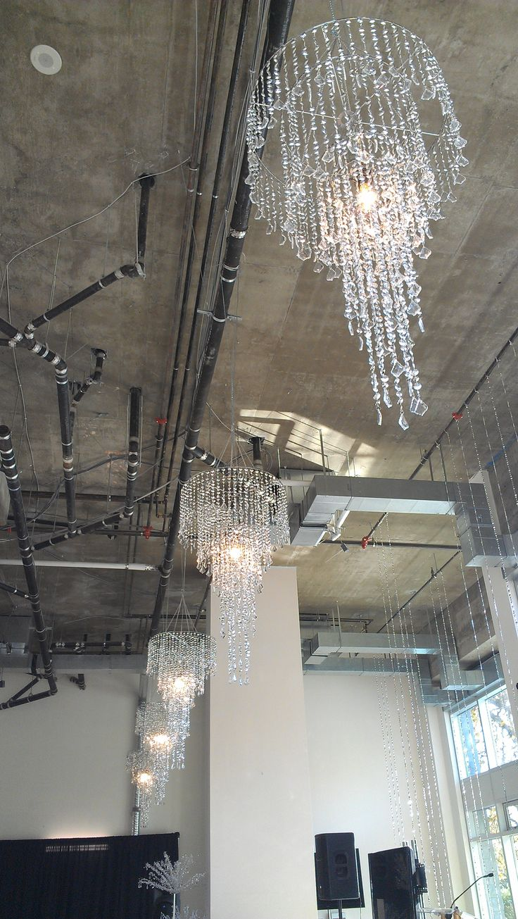 Beautiful ceiling chandeliers / Anne Pollock of Party Mood/ The Vancouver Island Wedding Ring Awards at the Parkside Hotel & Spa