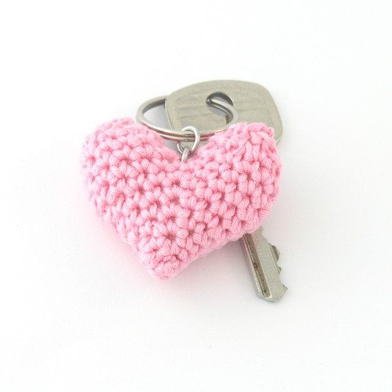 Pink puffy heart keychain crochet dangle zipper pull by ringcat,