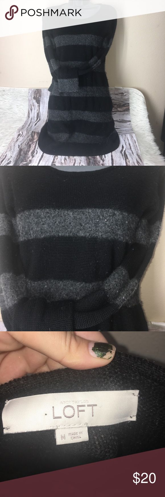 Loft striped sequin detail sweater dress Great condition but is very fuzzy due to the fabric. Just needs to be gone over with a sweater shaver. Black and grey stripes. Grey has small silver sequins sewn in hard to see in pics but cute in person. Great casual holiday dress. Would be cute with tights and knee high boots LOFT Dresses Long Sleeve