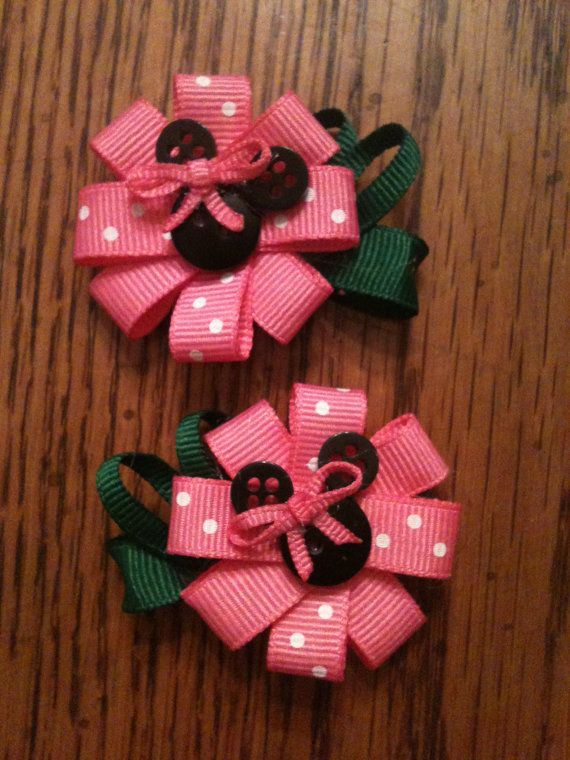 Minnie Mouse Flower Hair Clips Pink.