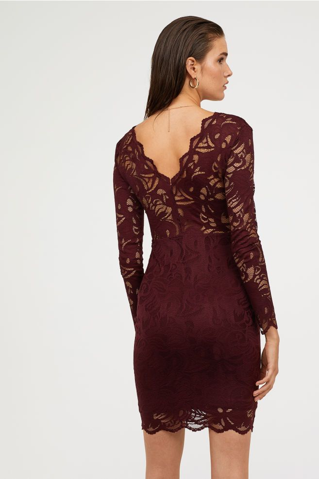 Fitted Lace Dress Burgundy Ladies H M Us Fitted Lace Dress Lace Burgundy Dress Long Sleeve Dress Formal