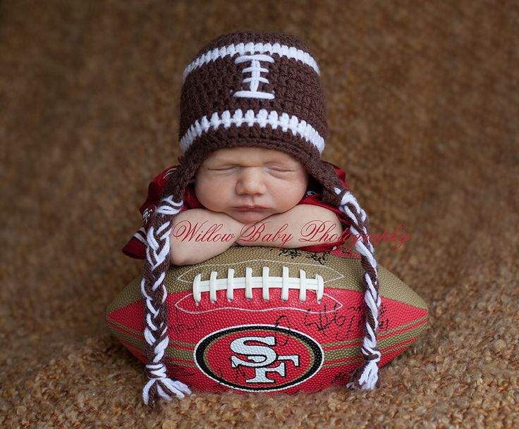 Baby Boy Hat - Baby Football Hat - Football Hat with Earflaps and Ties by PamKR on Etsy https://www.etsy.com/listing/198664869/baby-boy-hat-baby-football-hat-football