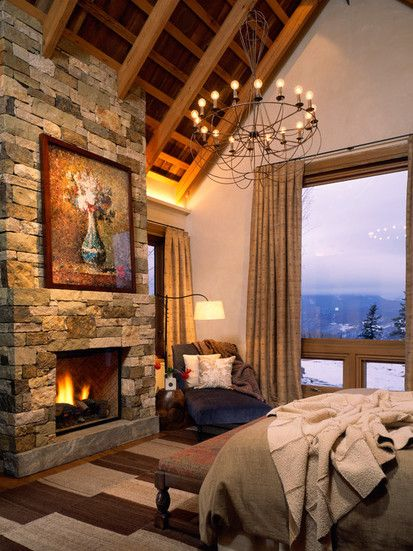 Wilson Mountain Residence, Traditional Bedroom
