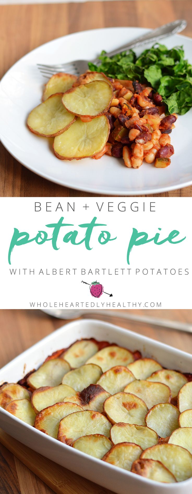 Vegan Bean and Vegetable Potato Pie using Albert Bartlett Rooster Potatoes, delicious healthy family meal!