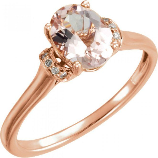 Unique Vintage Rosegold Morganite Diamond Engagement Ring   Under $500!