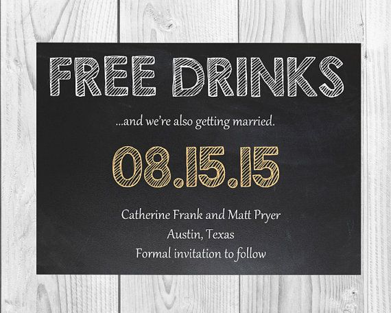 Wedding Party Birthday Bridal Shower Funny Free Drinks Save The Date Printed Unique Personalized Invitation Card One Day 3