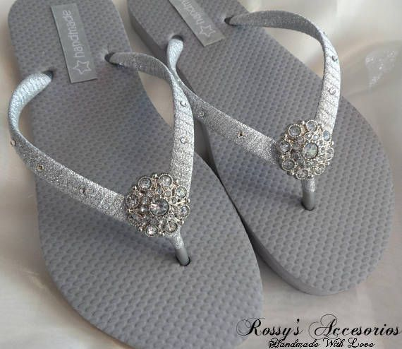 7fa801157af49e Bridal Flip Flops are a perfect accessories for you big day... These Gray