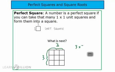 learning about perfect squares and square roots