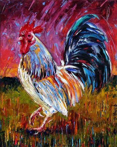 Rooster Art Original Oil painting farm animal paintings fine art by Debra Hurd -- Debra Hurd