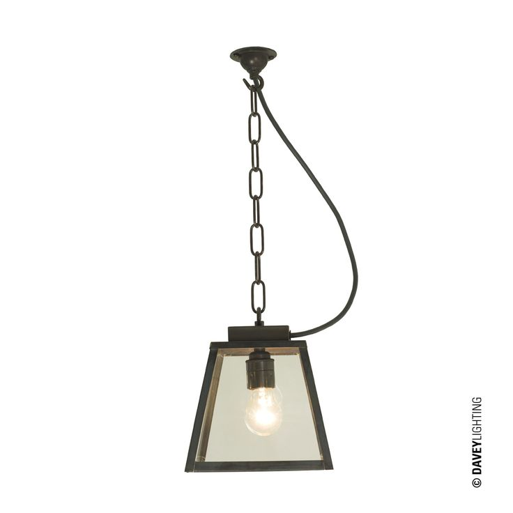 Small, medium, large or extra large Quad Pendant in weathered brass. Suspended on a weathered brass hook and 1.5 meters of chain. Glass on four sides, with a closed top for exterior use.. Type of fitting: Standard E27. Number of lamps: 1. Lamp: GLS. Maximum wattage: 60. Voltage: 230 (AC). Bulb Supplied: No. Type of glass: Clear glass. IP Rating : IP43. Dimmable: Yes