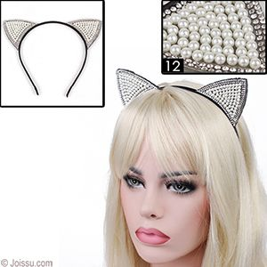 FAUX PEARL & GEMSTONE CAT EARS HEADBANDS.   With ribbon-wrapped headbands, these cute cat ears will make you feel like Ariana Grande. Assorted styles. Each includes a hanging tag. Each dozen PVC boxed