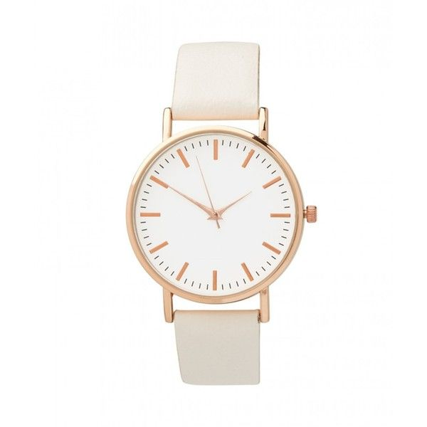 OUT OF TIME WATCH found on Polyvore featuring jewelry, watches, montres, white jewelry, vegan jewelry, white wrist watch and white watches