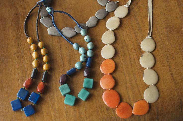 Tagua caramel cube and bi-color necklace #Maite