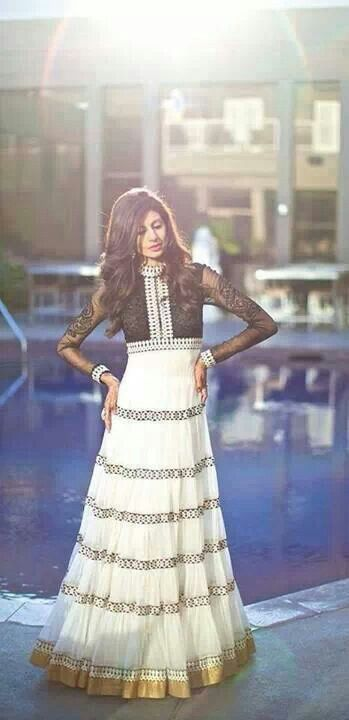 Awesome anarkali for tall girls..black, creme and golden! wow!