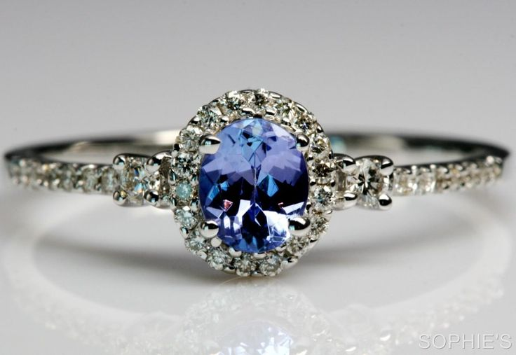~Genuine Tanzanite & Diamond Victorian Engagement Ring In 14K White Gold Size N~