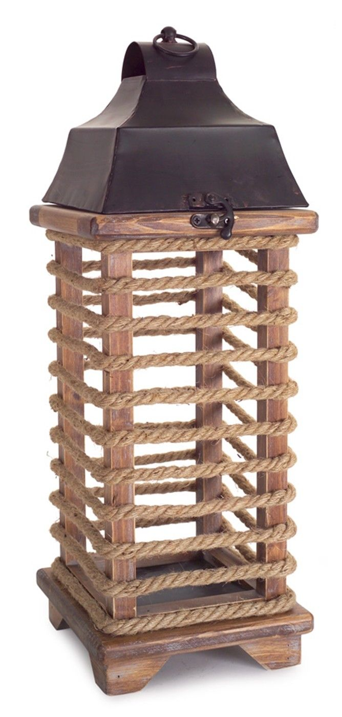 Rope Wrapped Wood Lantern