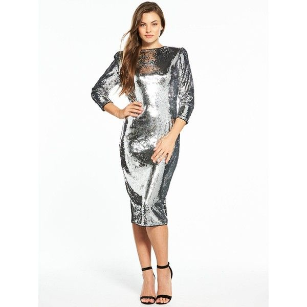 V By Very Sequin Midi Dress (£60) ❤ liked on Polyvore featuring dresses, silver sparkly dress, midi cocktail dress, midi dress, white sequin dress and white party dresses
