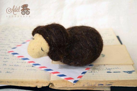 Brown Felt Sheep - felt animal - felt lamb - decoration