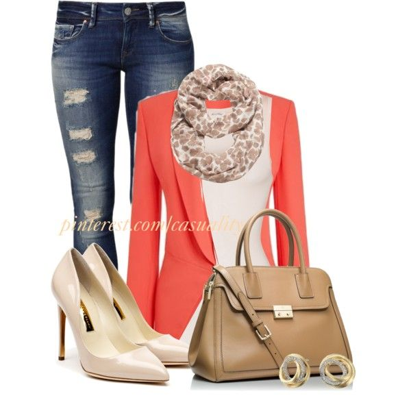 """Nine West Leopard Infinity & Coral Blazer"" by casuality on Polyvore"