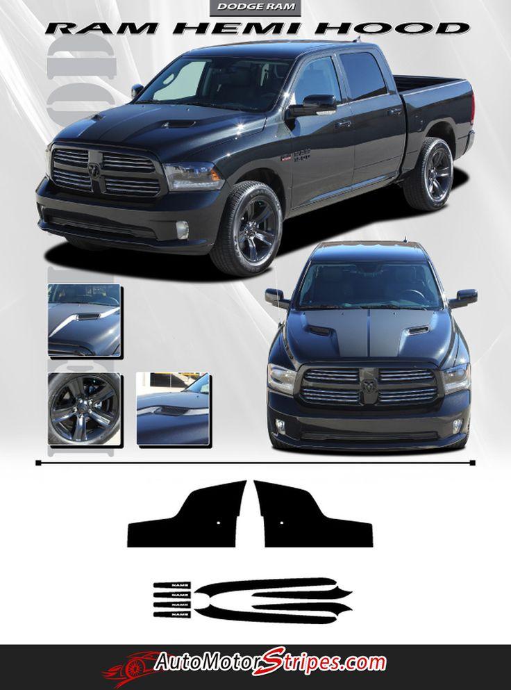2009-2016 Dodge Ram Hemi Hood Blackout Accent Solid Center Winged Vinyl Graphic Truck 3M Stripe Kit
