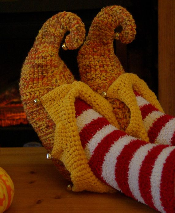 Crochet wool slipper socks, pixie, elf, jester Wool, Slipper socks and Sock