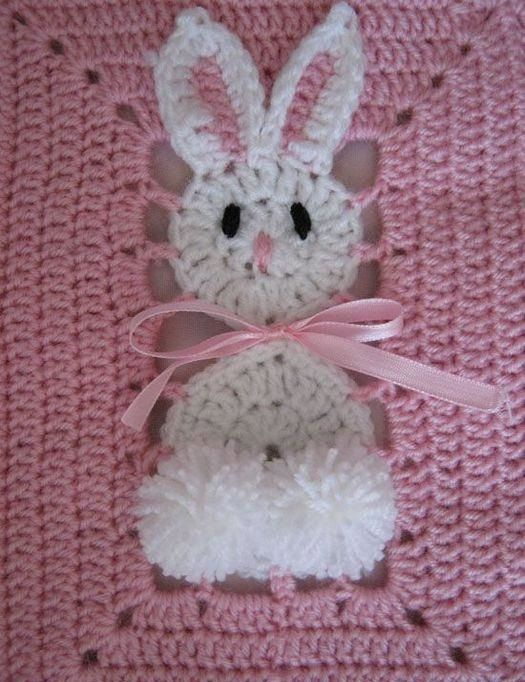 colcha con conejo a crochet: Crochet Blankets, Baby Afghans, Idea, Crochet Squares, Easter Bunnies, Crochet Baby Blankets, Granny Squares, Crochet Bunnies, Crochet Knits