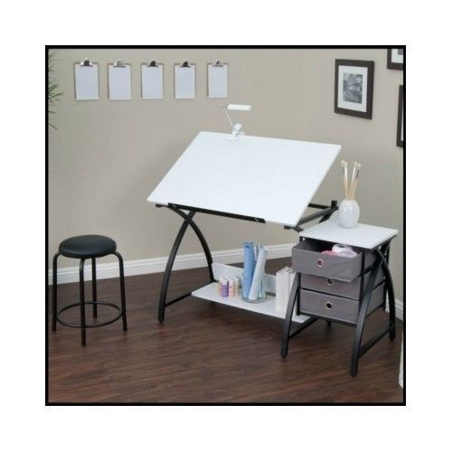 White-Writing-Desk-Artist-Student-Craft-Art-Computer-Office-Laptop-Stool-Table