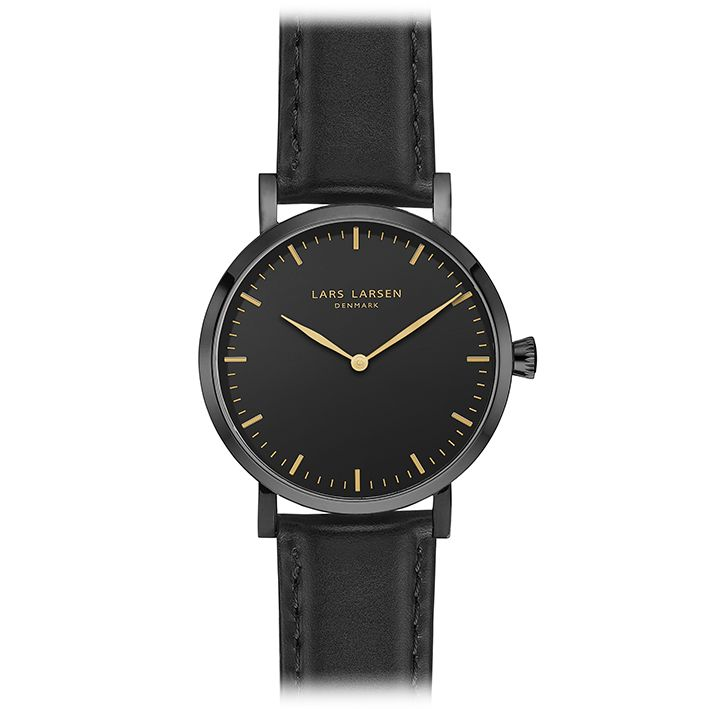 LW44 · Ladies Watch · All black leather. Black dial, gold plated 6,8 mm slim casing, beautiful black calf leather and a touch of gold. We love this ladies watch. It is suitable for everything and the colors are streamlined through the design